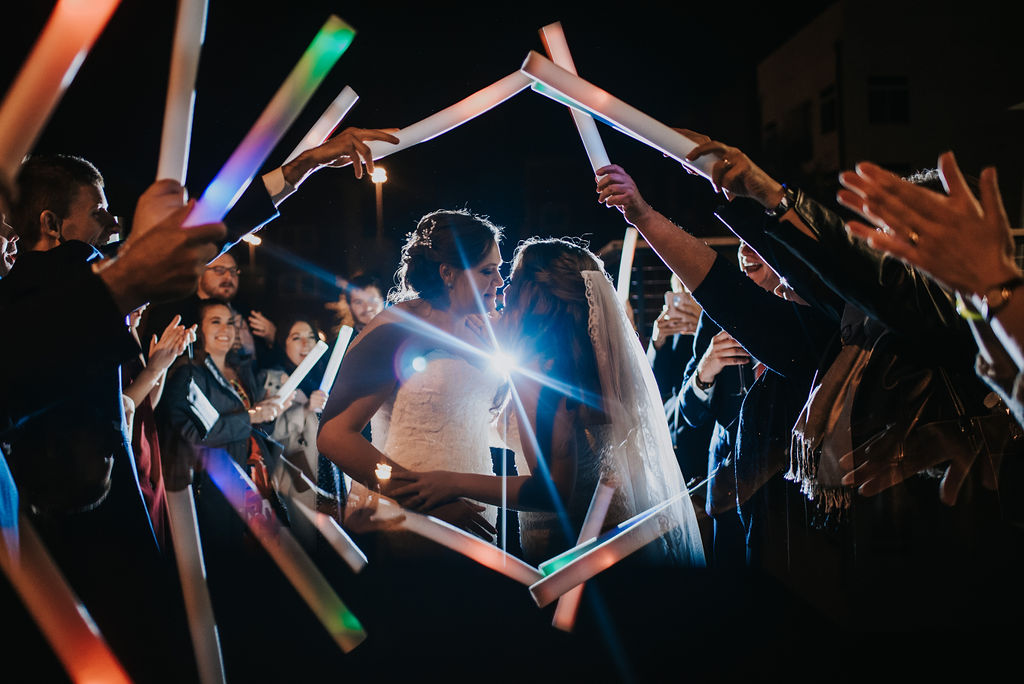 Glowstick Exit at Triple C Barrel Room by Charlotte Wedding Photographers