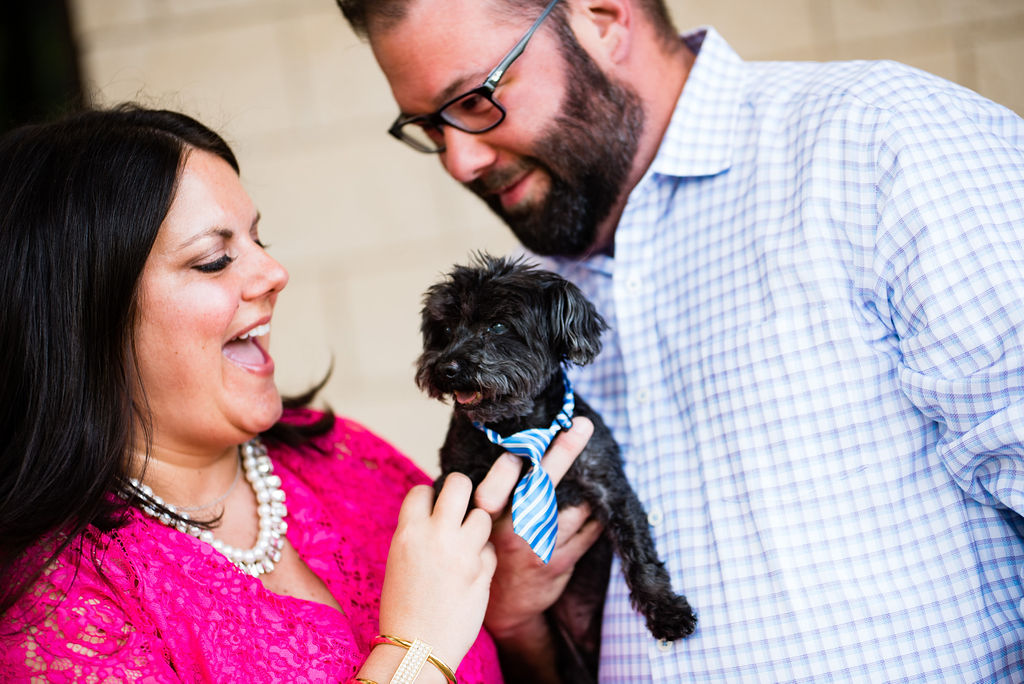 Plaza Midwood Southern Engagement Session with Dog by Charlotte Wedding Photographers
