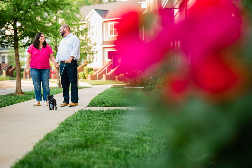 Plaza Midwood Engagement Session with Dog by Charlotte Wedding Photographers