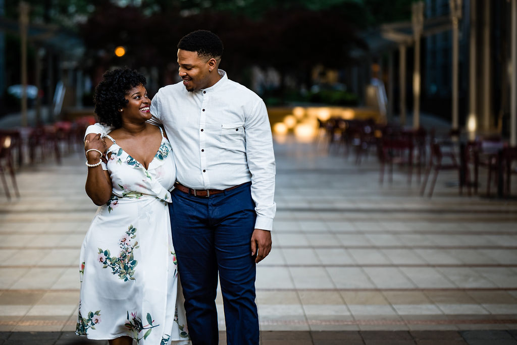 Uptown Engagement Session at Gateway with Charlotte Wedding Photographers