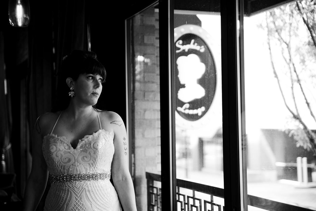 Bride Portraits at Sophia's Lounge by Charlotte Wedding Photographers