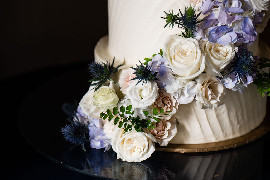 Wedding Cake and Flower Details at Terrace at Cedar Hill by Charlotte Wedding Photographers