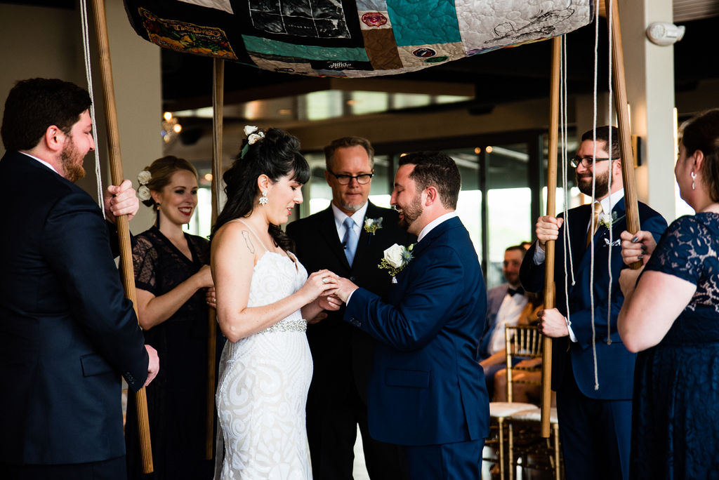 Jewish Wedding Ceremony with Huppah at Terrace at Cedar Hill by Charlotte Wedding Photographers