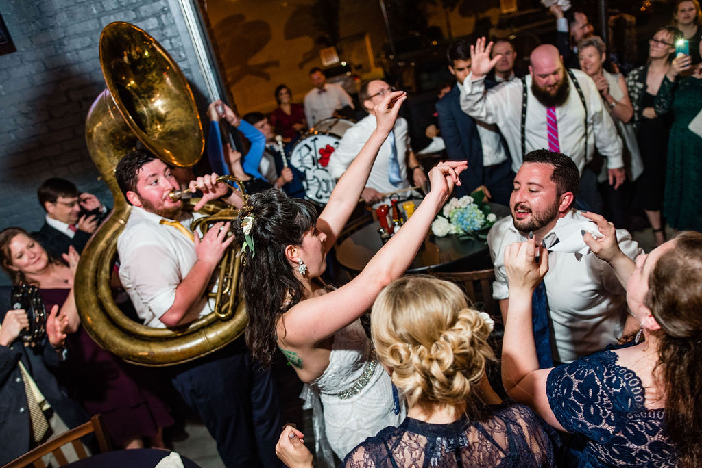 Post Wedding After Party by Charlotte Wedding Photographers with Blow House Brass Band