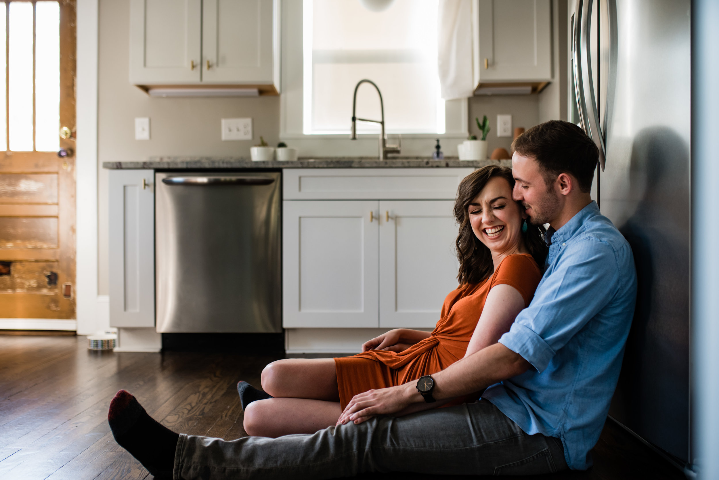 In Home Asheville Engagement Session by Charlotte Wedding Photographers