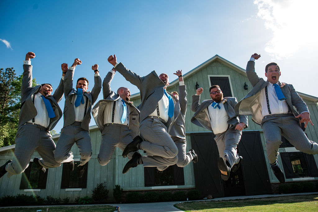 New Suits Groomsmen at Sweet Magnolia Estate by Charlotte Wedding Photographers