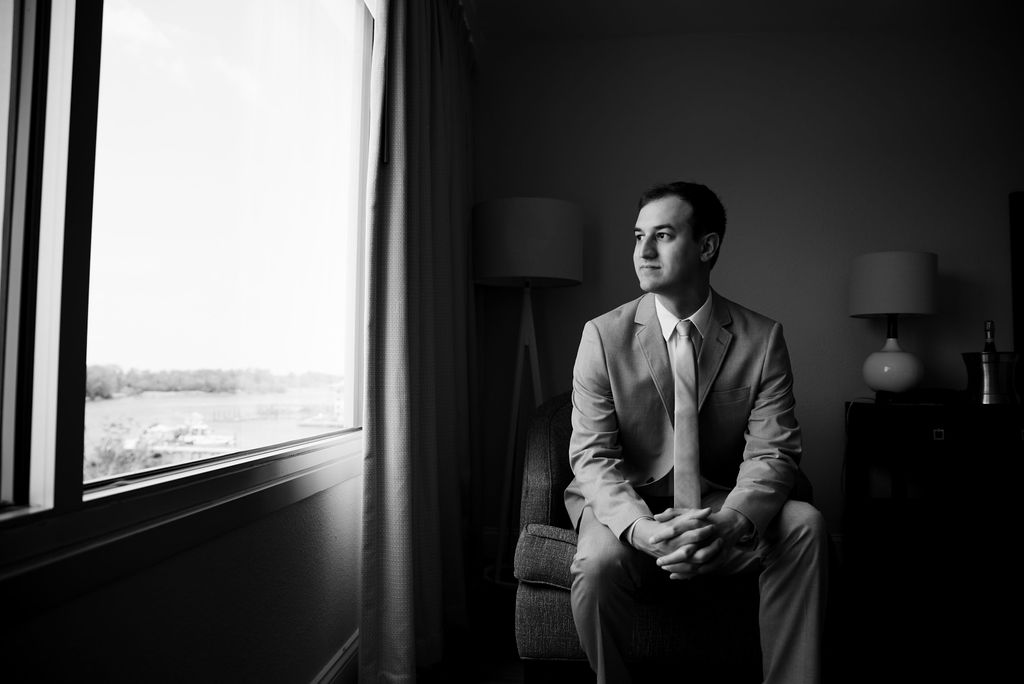 Groom Portraits at Hotel Ballast in Wilmington NC by Charlotte Wedding Photographers