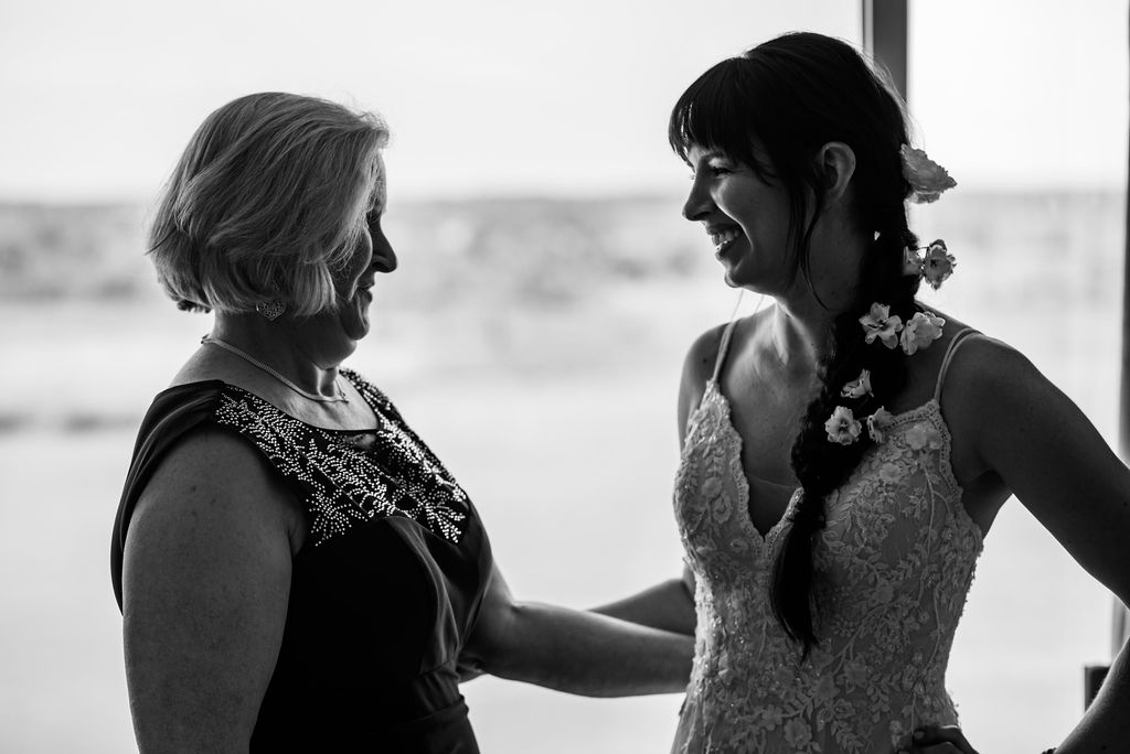 Bride and Mother at Hotel Ballast in Wilmington NC by Charlotte Wedding Photographers