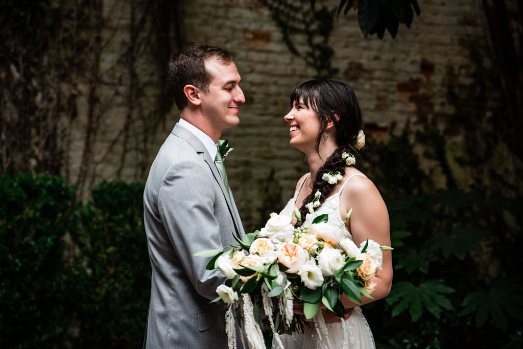 Bride and Groom at Atrium by Ligon Flynn in Wilmington NC by Charlotte Wedding Photographers