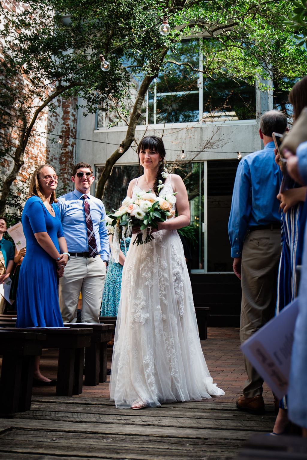 Ceremony at Atrium by Ligon Flynn in Wilmington NC by Charlotte Wedding Photographers