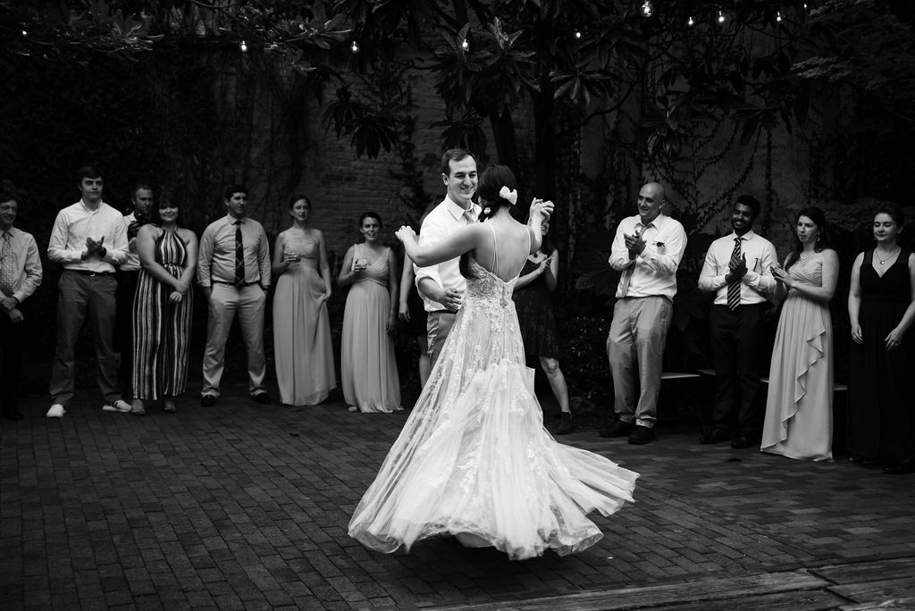 Bride and Groom First Dance at Atrium by Ligon Flynn in Wilmington NC by Charlotte Wedding Photographers