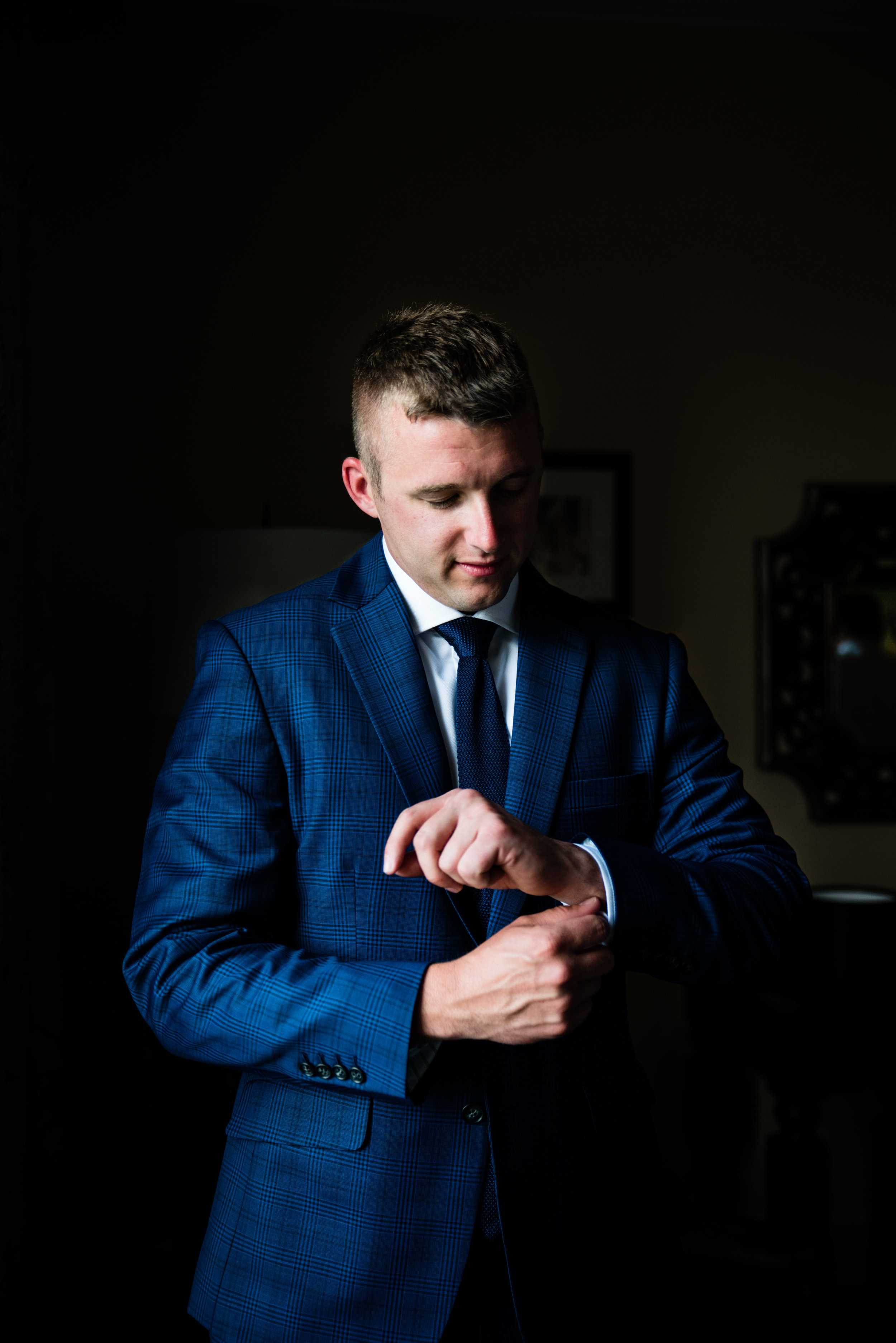 Groom Getting Ready by Charlotte Wedding Photographers