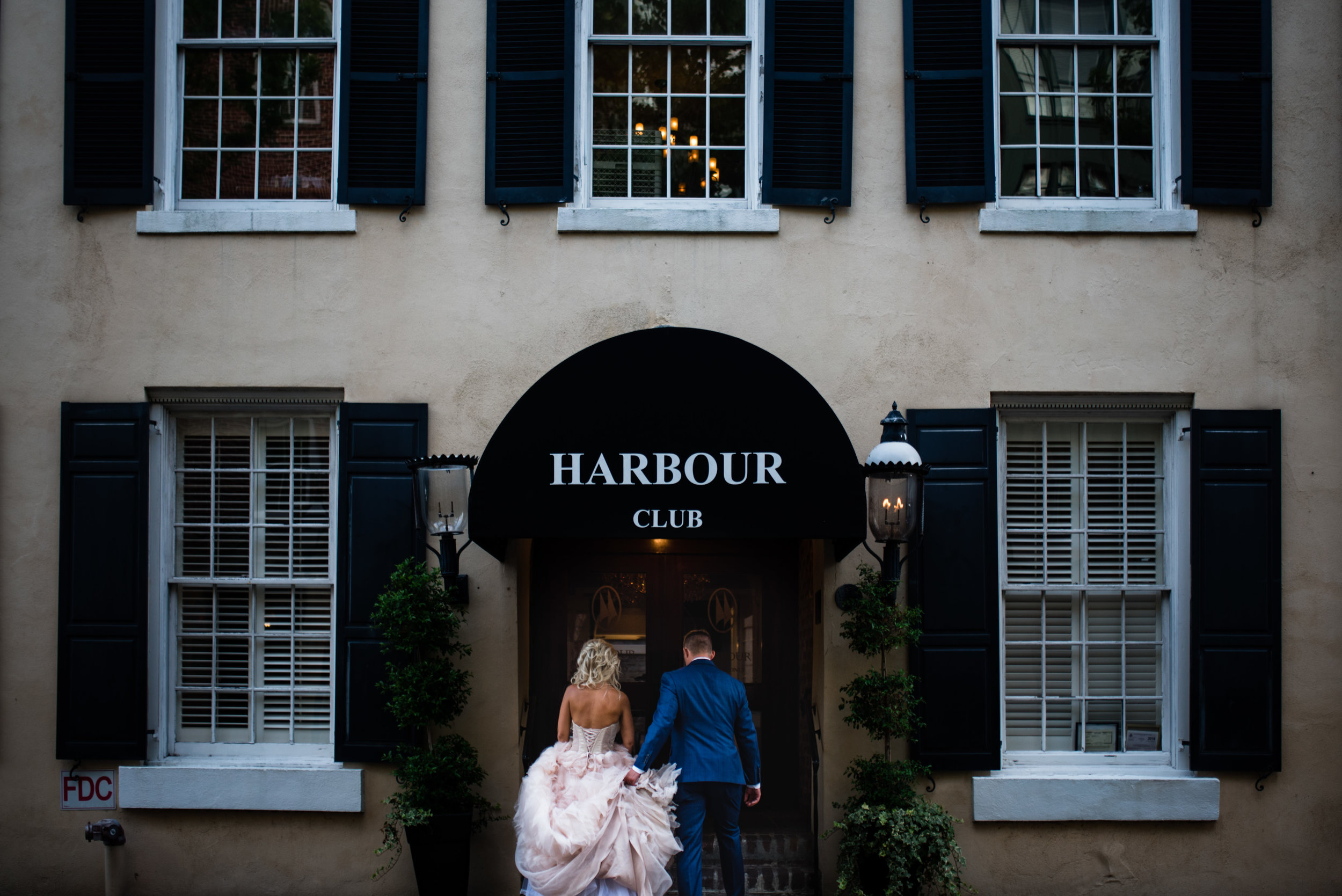 Bride and Groom at The Harbour Club Charleston by Charlotte Wedding Photographers