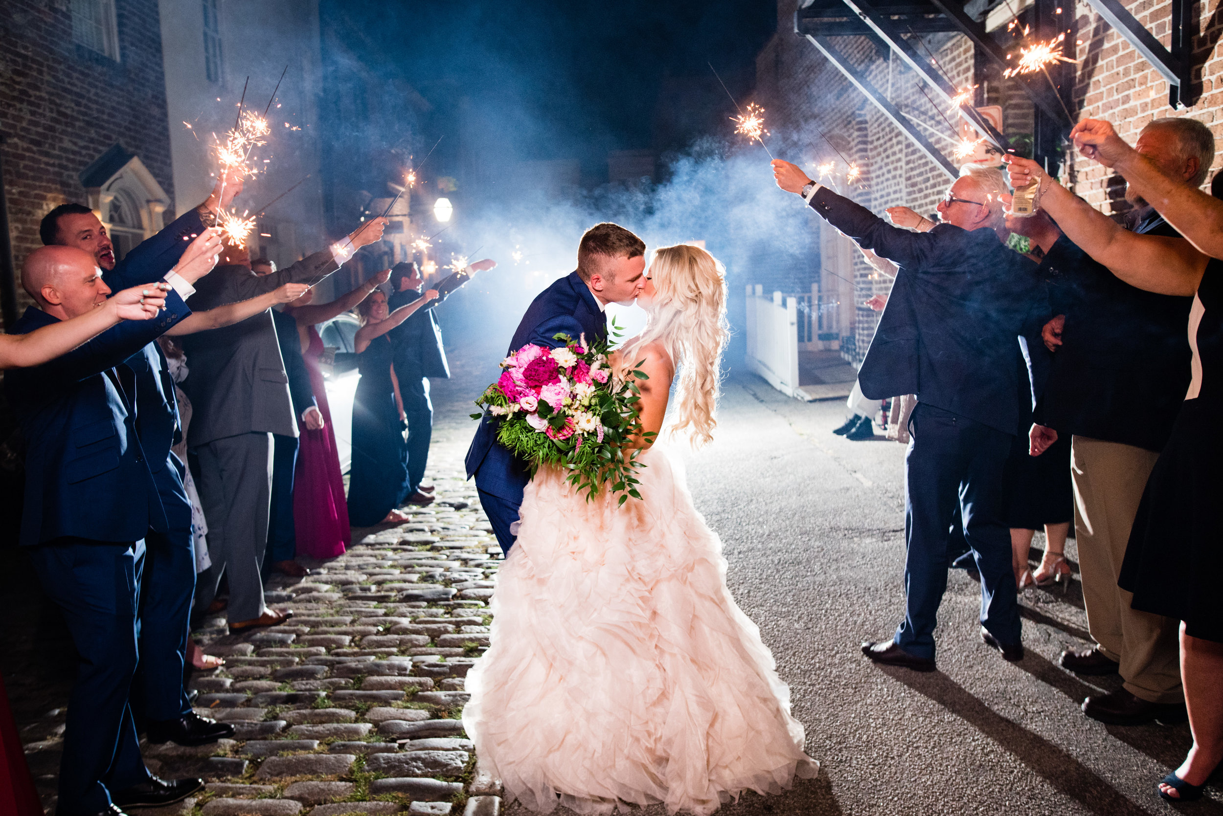 Sparkler Exit at The Harbour Club Charleston by Charlotte Wedding Photographers