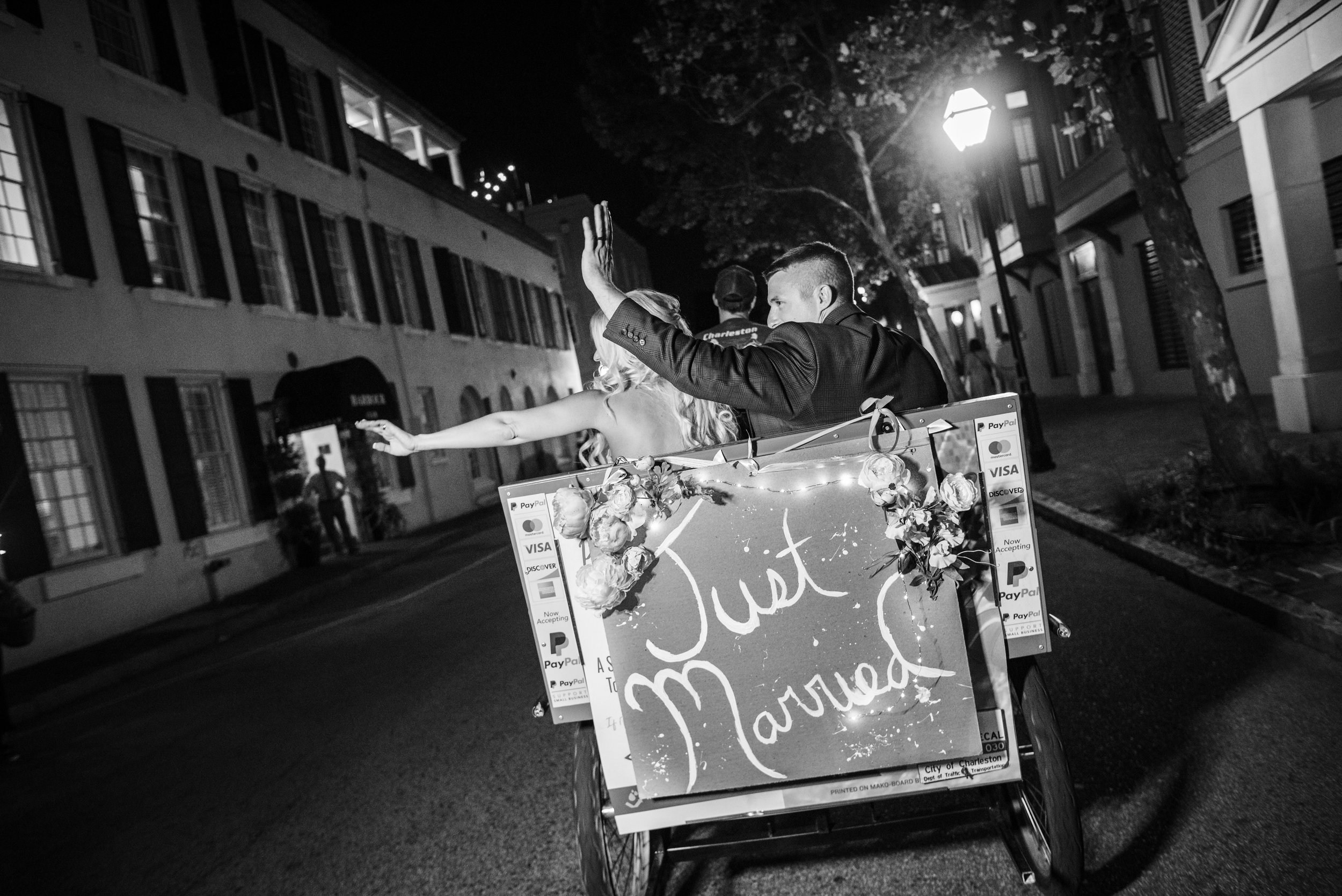 Pedicab Exit at The Harbour Club Charleston by Charlotte Wedding Photographers