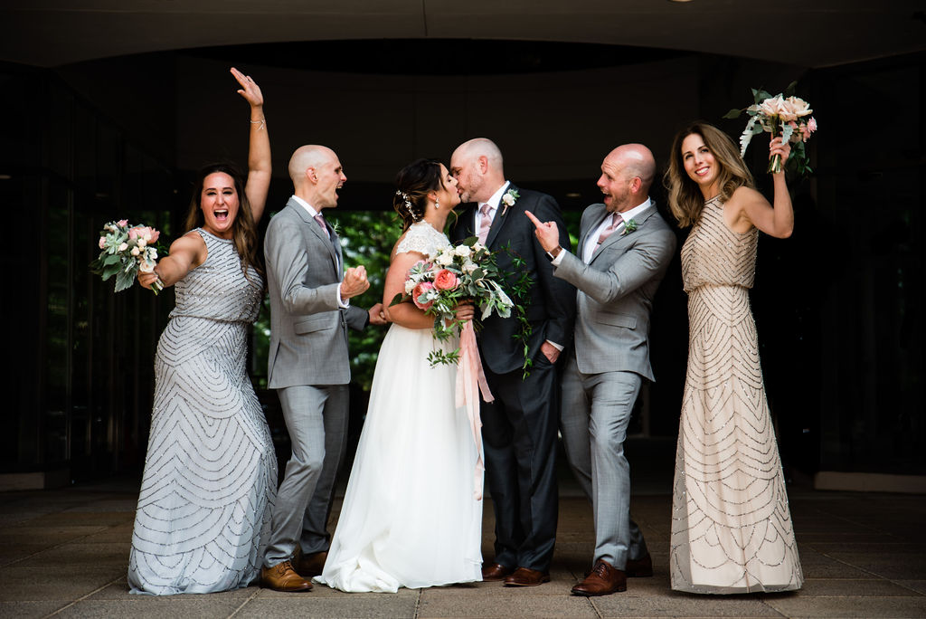 Bridal Party in Uptown by Charlotte Wedding Photographers