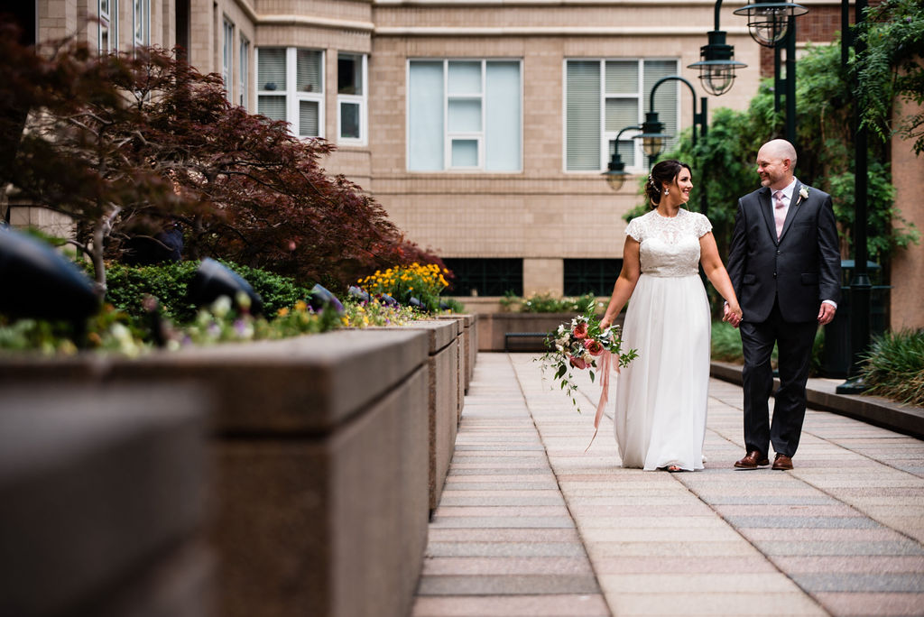 Bride and Groom Portraits in Uptown by Charlotte Wedding Photographers