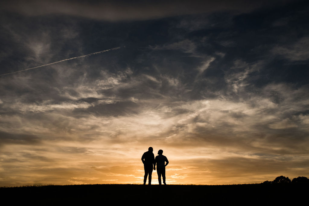 Same Sex Gay Couple Engagement Session Sunset Silhouette by Charlotte Wedding Photographers