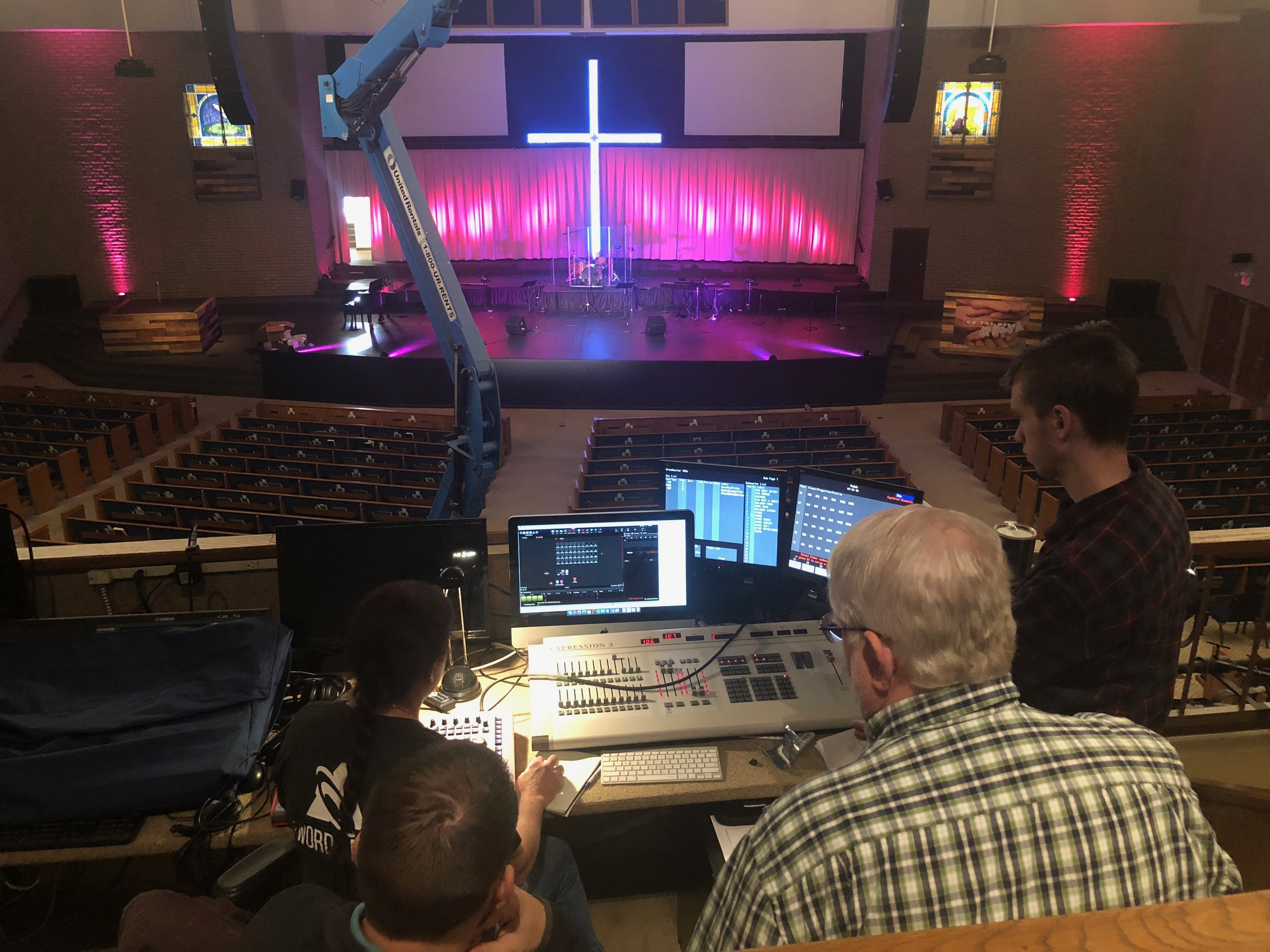 Grace Community Church volunteers being trained on their new Chroma Q lighting board and Vista 2 DMX control software.
