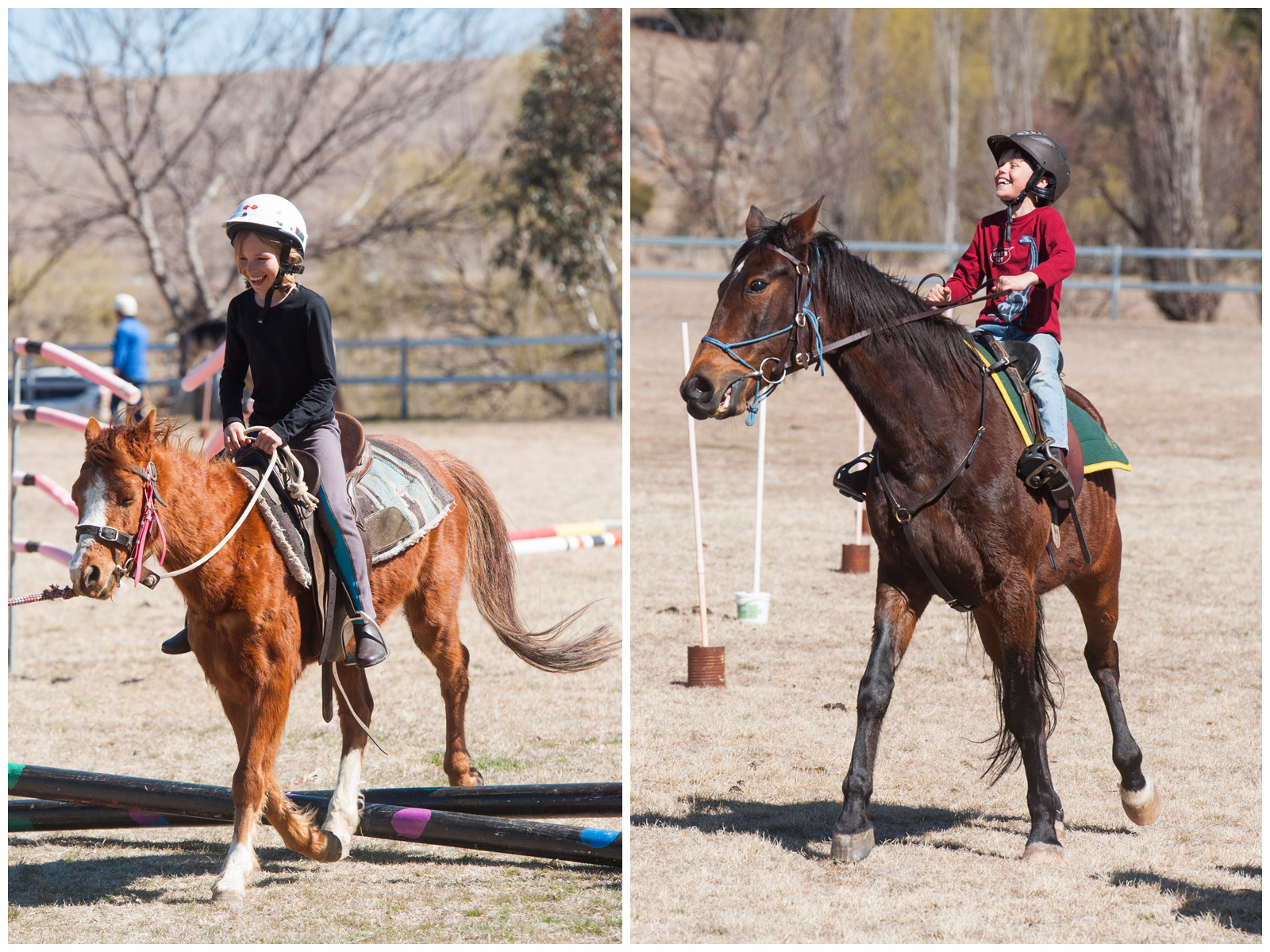 Emily on Elmo, and Jack on Charlie - at the Snowy River Pony Club