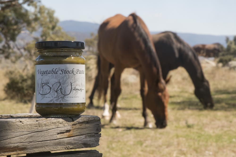 Vegetable stock paste, with some of our lovely horses feeding in the background
