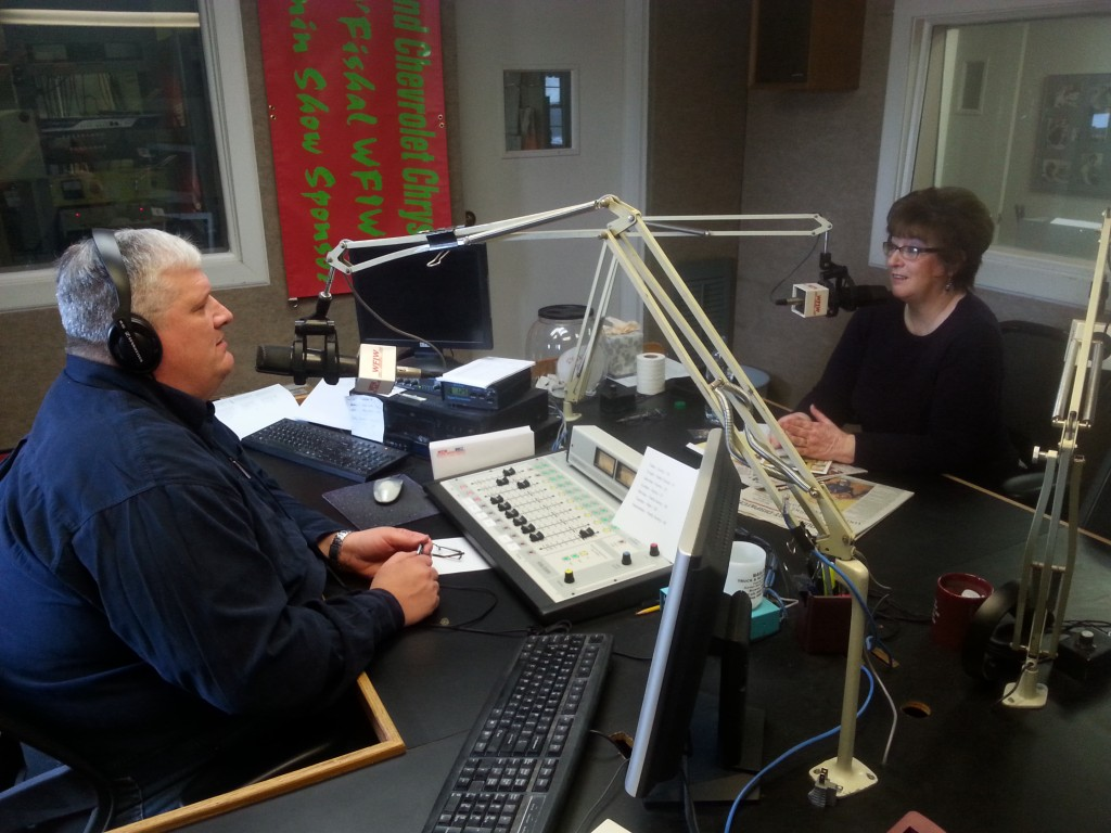 Thea on the local radio show with Bruce Dickey at WFIW in Fairfield, Il.