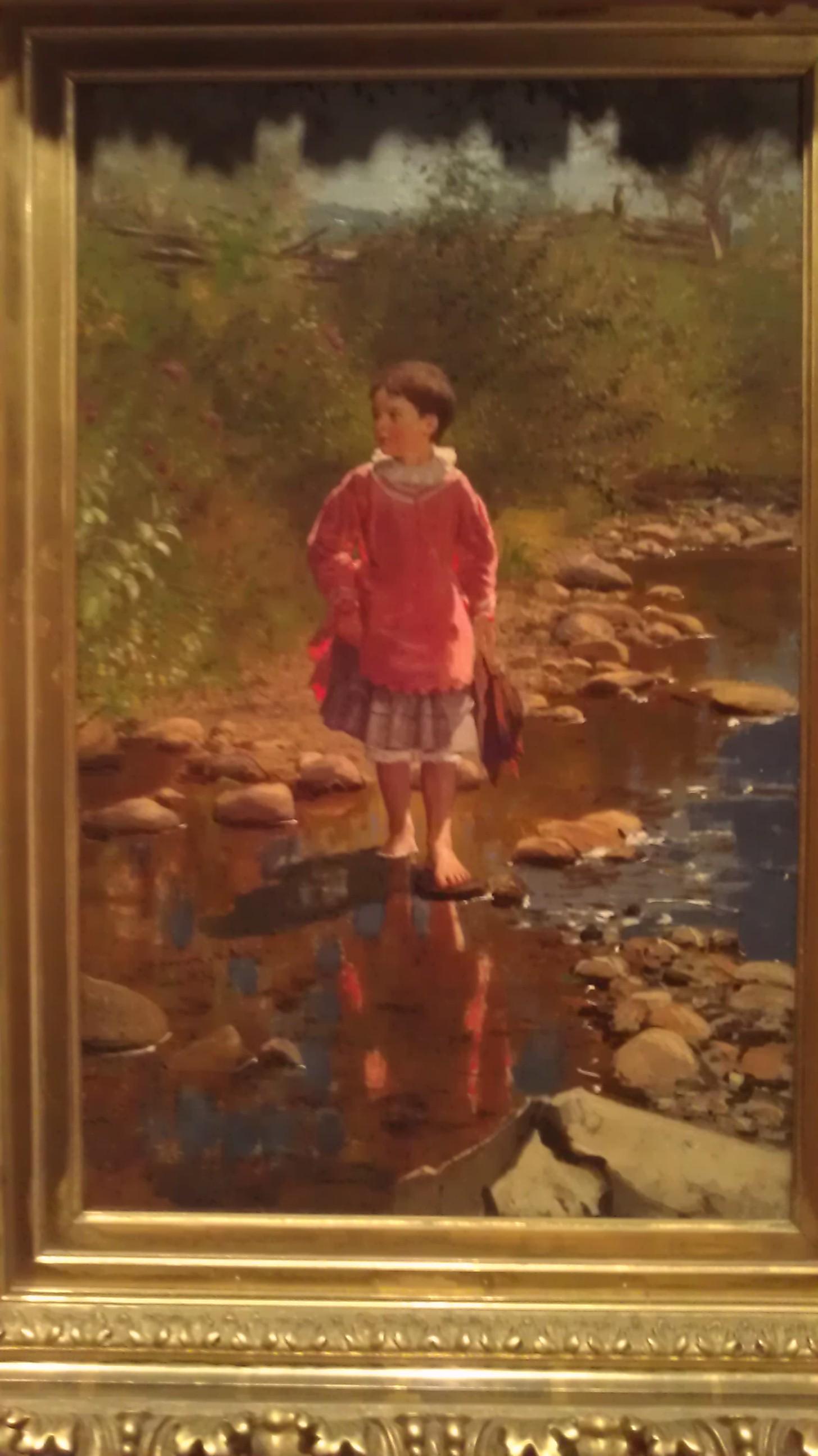 Crossing the Brook (1874) by John George Brown.