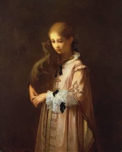 Girl with Cat (1856) by William Morris Hunt