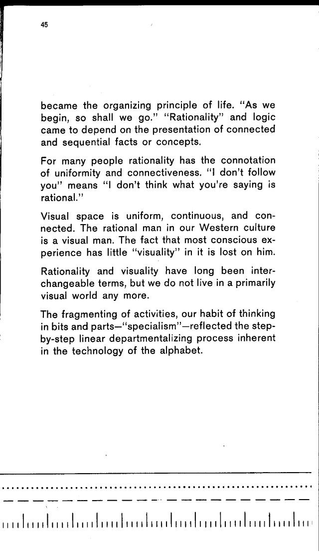 """The lines at the bottom of this page of """"The Medium is the Massage"""" area visual example of the way McLuhan believed the alphabet changed our thought."""
