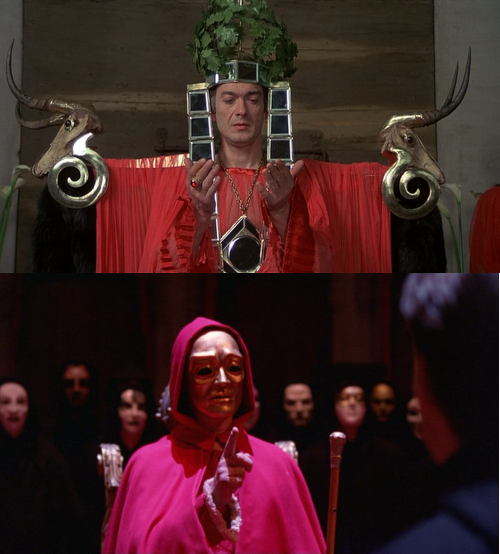 In both films, the elites stage costumed rituals to assert control and replace religion.
