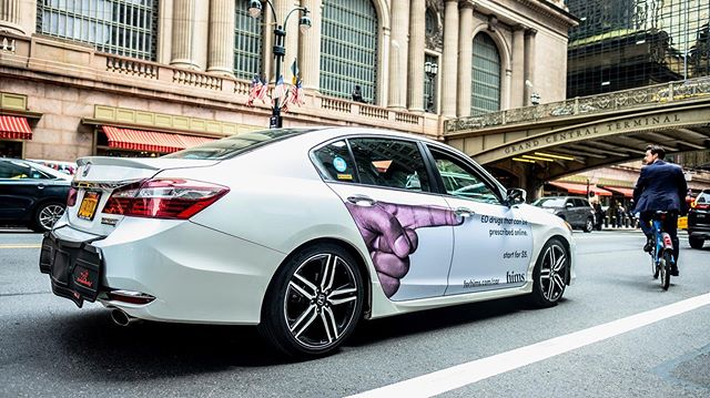 @hims cars looking great in NYC! Start for $5. . . . . #mobilads #ads #OOH #ad #rideshare #uber #lyft #via #campaign #outdoorads #media #nyc #newyorkcity #forhims #drive #hims