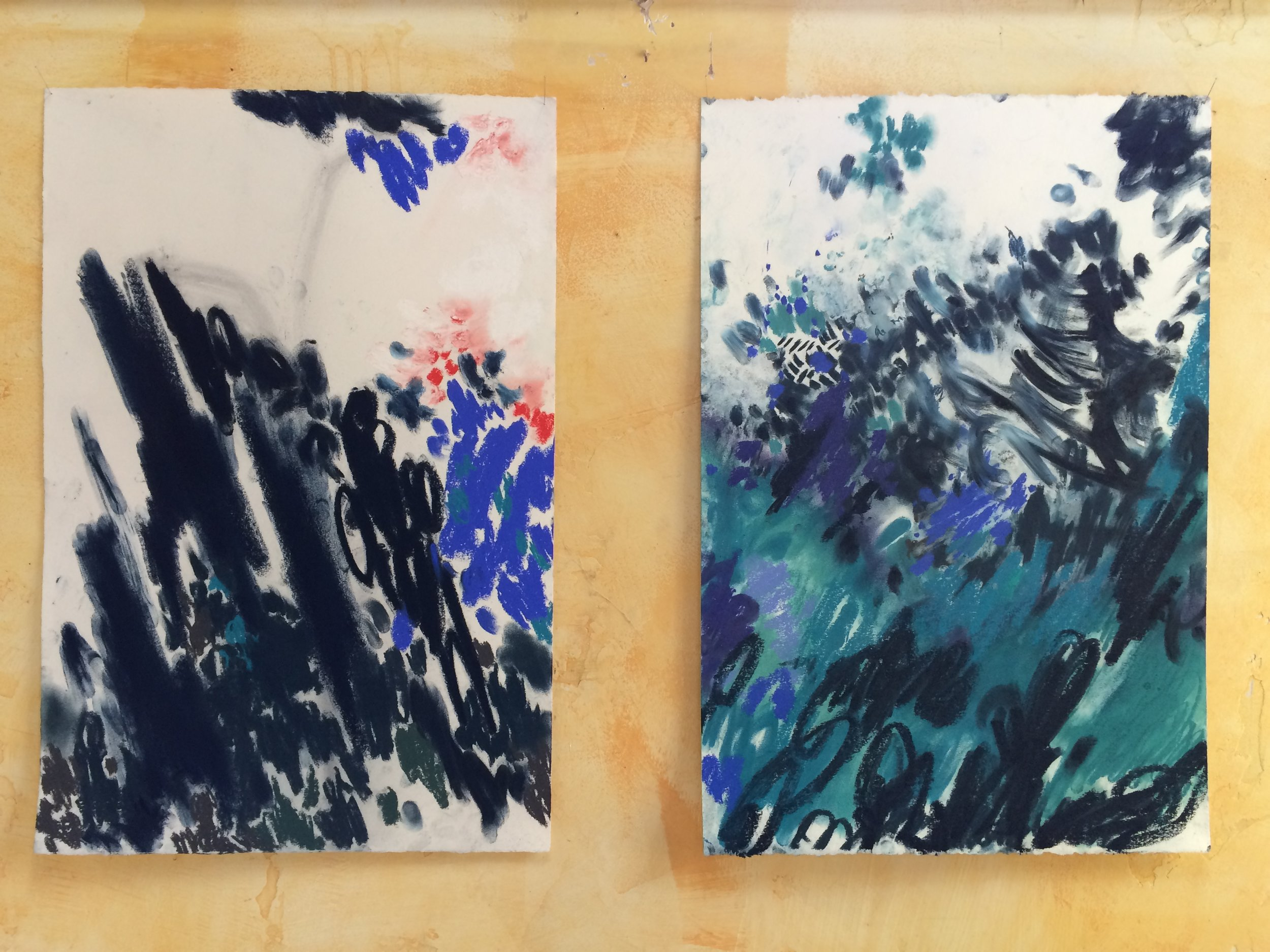 chalk on paper  each 15 x 22 inches