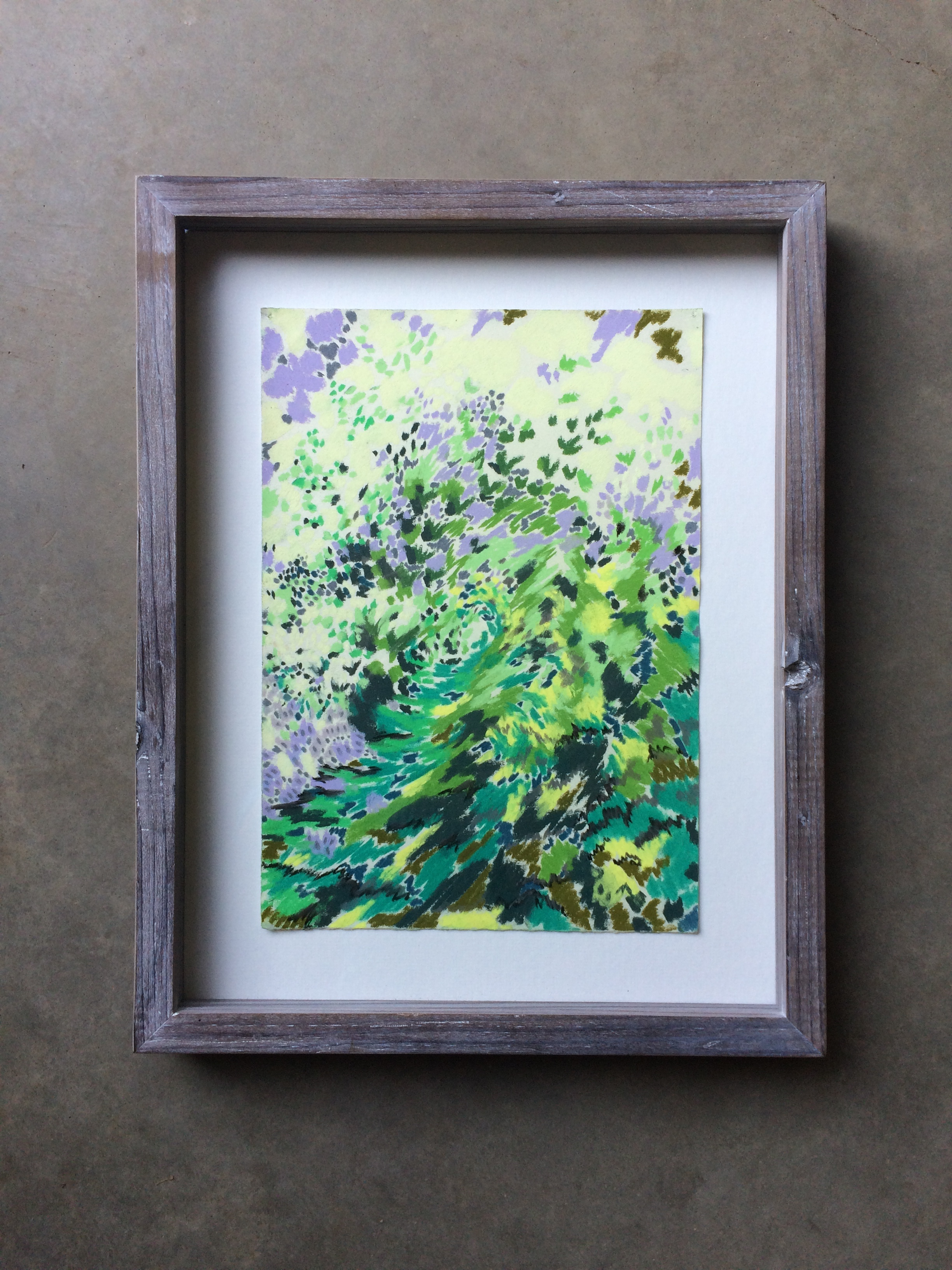 chalk on paper  ( 7.5 x 11 inches unframed)  hand built lime-washed redwood frame  SOLD