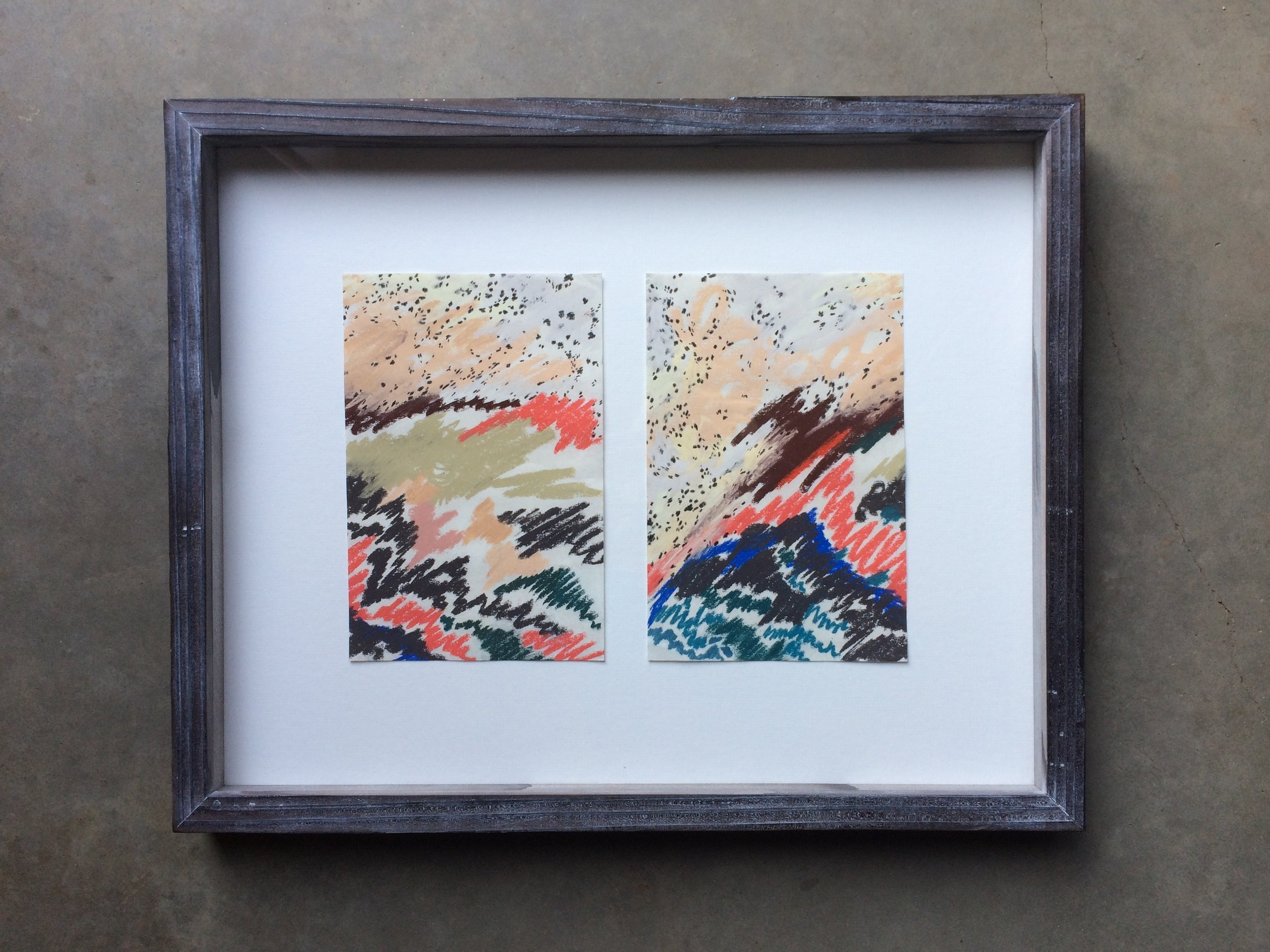 chalk and pencil on paper  diptych ( both pieces 5.5 x 9 inches unframed)  hand built lime-washed redwood frame  SOLD