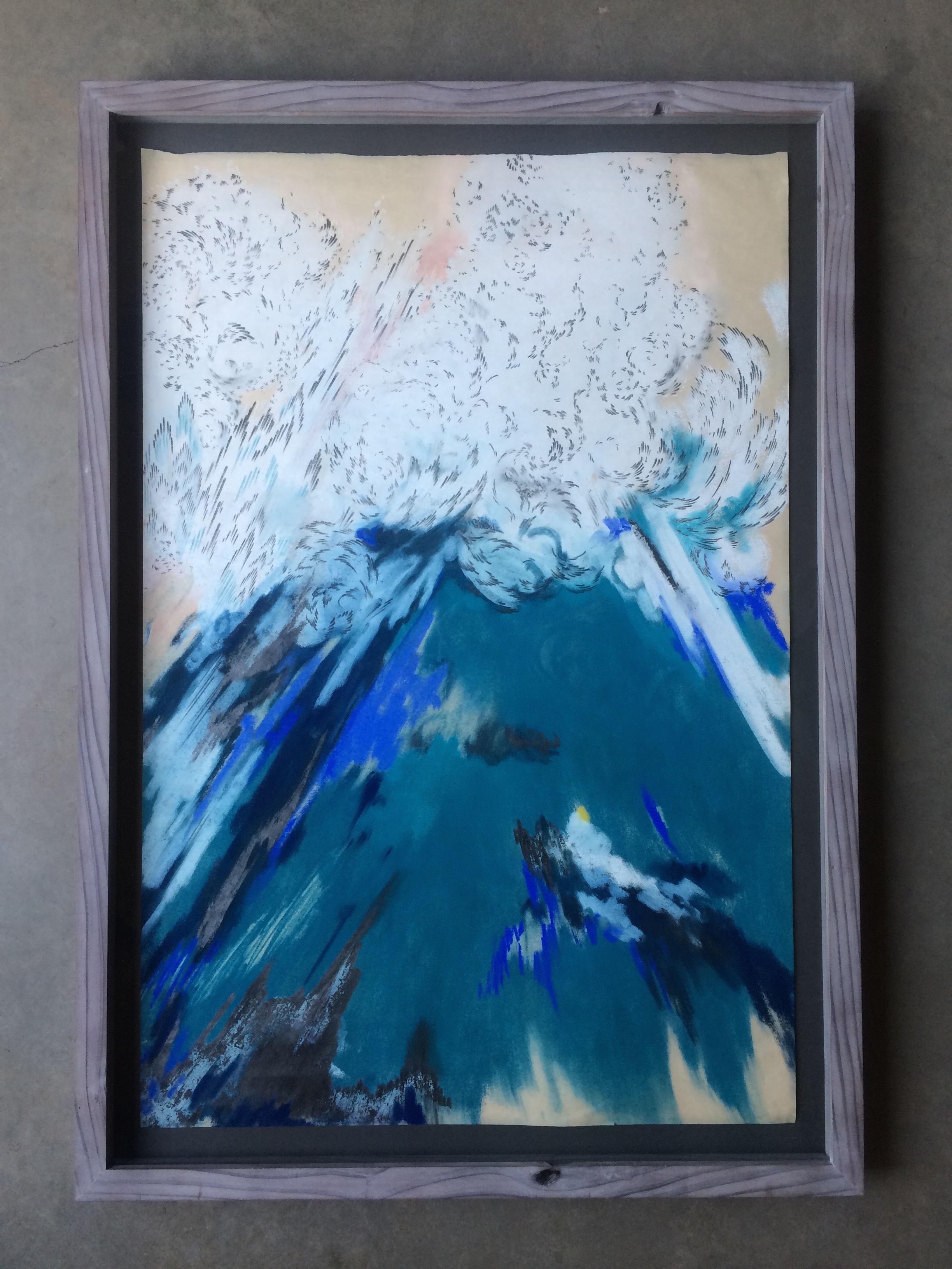 chalk on paper  ( 24 x 36 inches unframed)  hand built lime-washed redwood frame