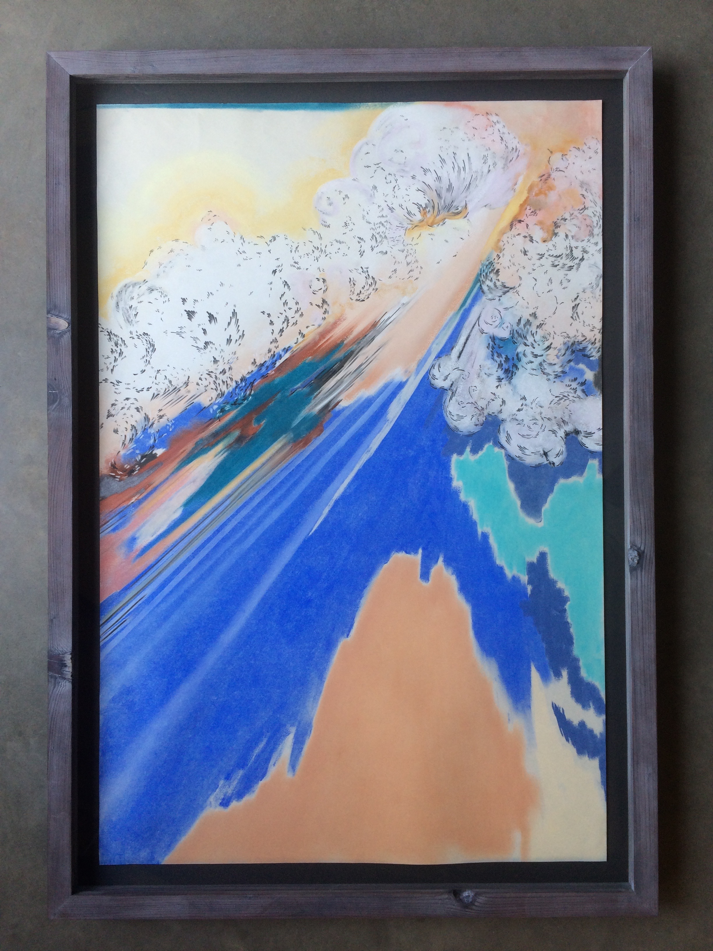 chalk and pencil on paper  ( 24 x 36 inches unframed)  hand built lime-washed redwood frame  SOLD