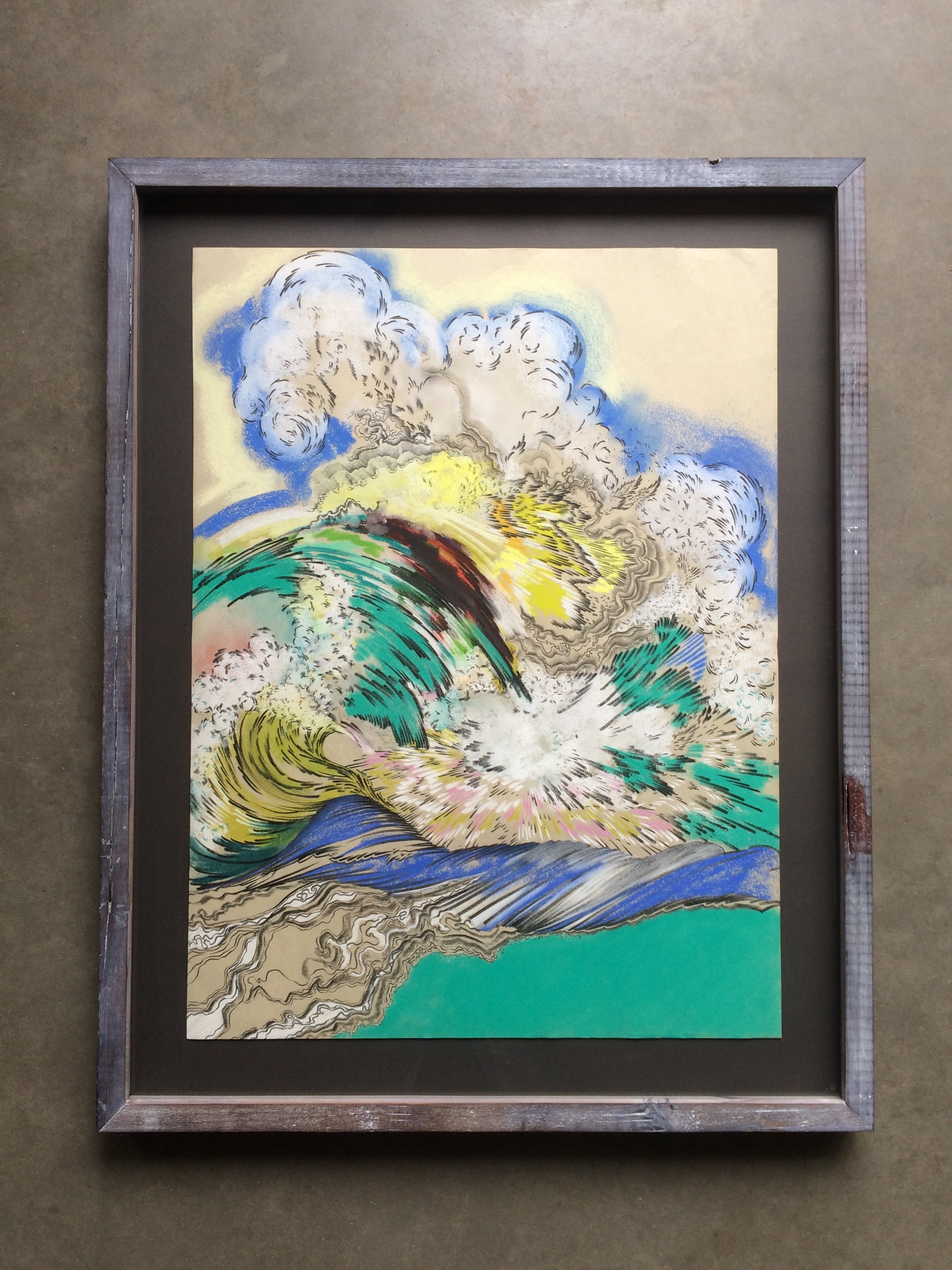 chalk and pencil on paper  ( 16 x 20 inches unframed)  hand built lime-washed redwood frame