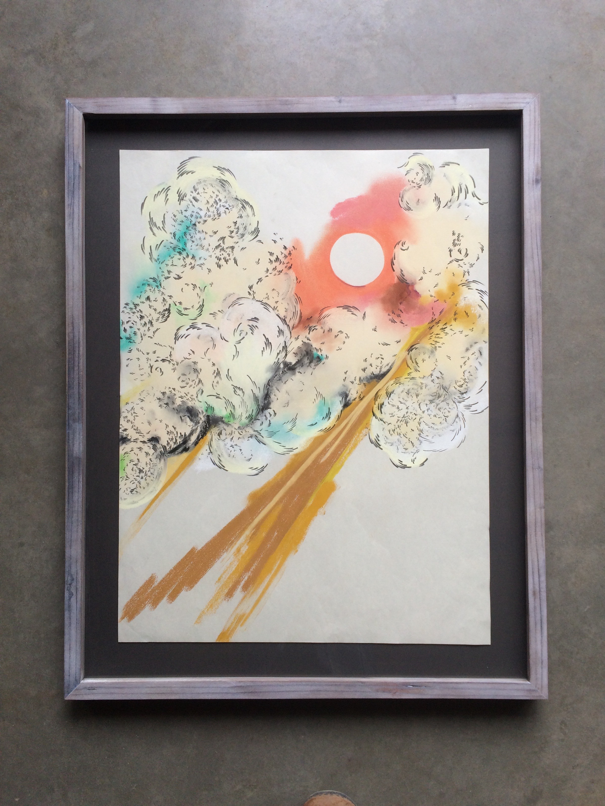 chalk on paper  ( 16 x 20 inches unframed)  hand built lime-washed redwood frame  SOLD