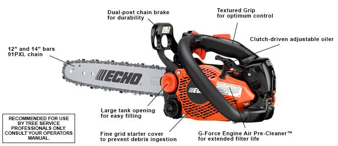 The lightest gas-powered chain saw in North America.