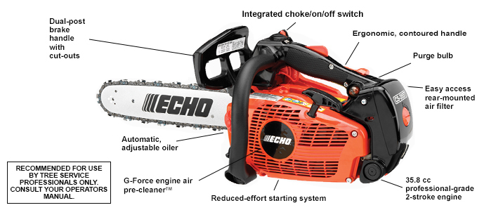 "ECHO's most powerful top-handle chain saw. 14"", 16"" bar lengths."