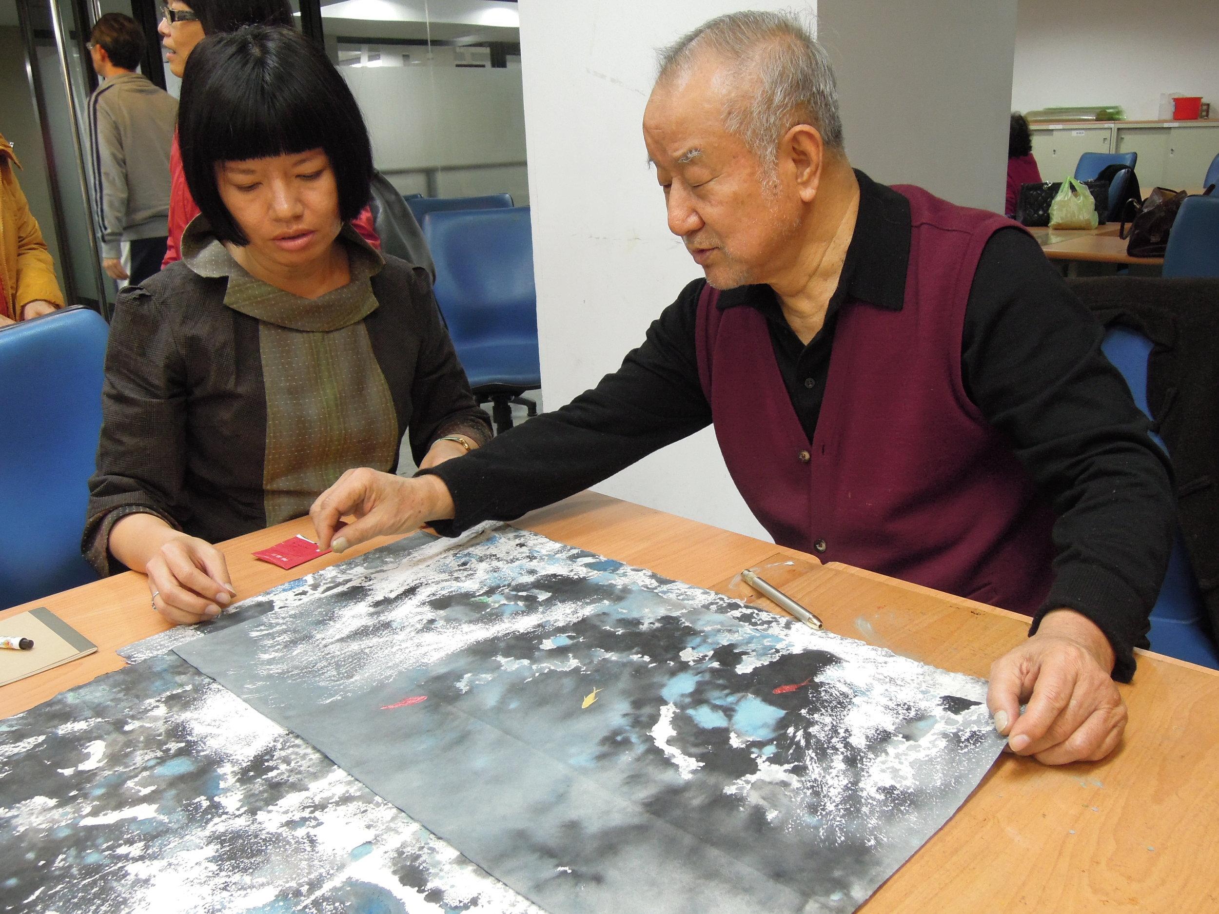 2014/2/12 現代水墨研究班 ─ 劉國松老師指導學生江心靜