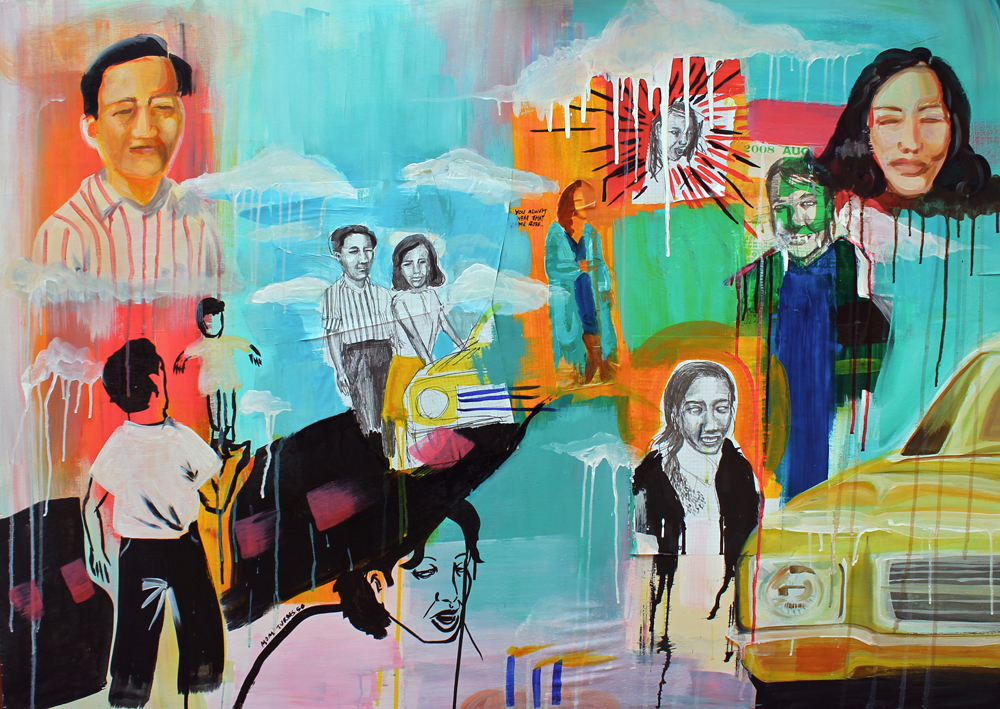 Family Portrait , acrylic and collage on board, 2013.