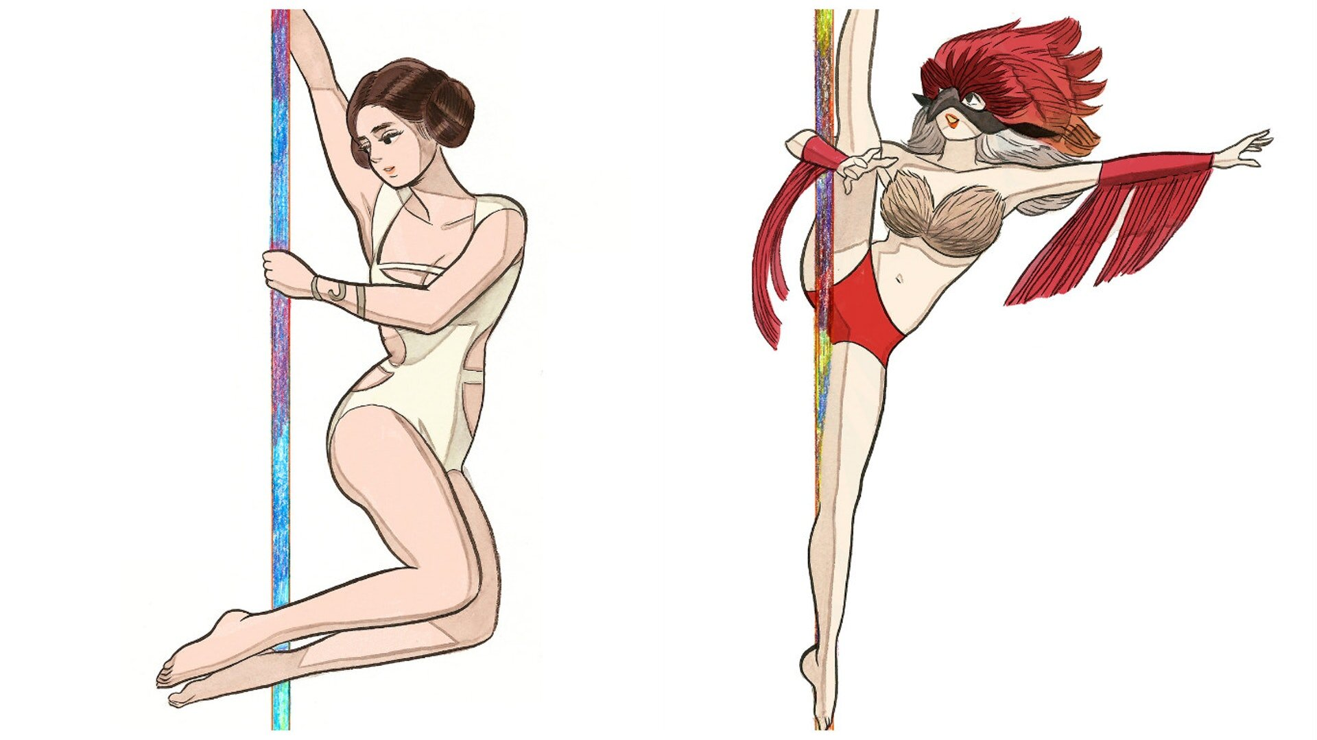 Illustrations by Little Thunder from her book   Blister Exists  , a 1,200 page volume of pole dancing poses.