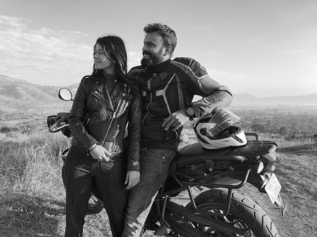 When your brother says let's go on @officialtriumph ride. Thank you @reuben1789 @anusree86. With @swatishandilya