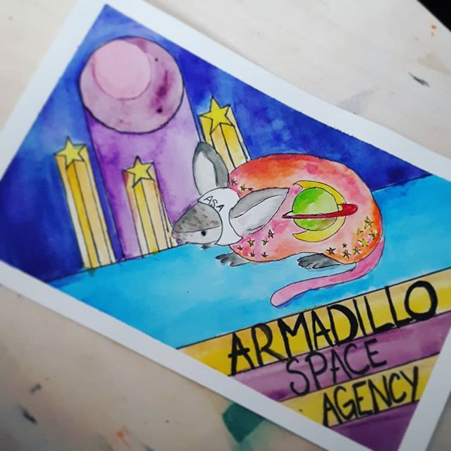 More watercoloring. Im really into space armadillos right now, for whatever reason. Im trying really herd to paint what makes me happy  At the same time, ive wanted to do a holiday serries so badly. So i think when making propaganda for the ASA (Armadillo Space Agency) is no longer intresting im going to head in that direction. I still have a few canvas peices and sculptures i want to finish before @genderunbound in September. But everything seems to be coming along nicely So im not gonna sweat it yet.💖 🎨⭐🌒🌕🌗⭐🔭💖 . . . . #txartist #artistlife #artistofinstagram #artsagram #watercolorartist #armadillo #astronaut #cosmonaut #propagandaposter #propagandaart #propaganda #spacearmadillo #spaceart #spacerace #nasa #dillo #texasart #weirdart #atxartist #atxstyle