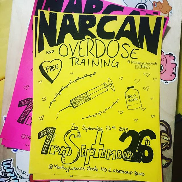 My first poster. Okay Im.not great a graphic design. Bit there was an attempt made and im really excited to be part of this class talking about harm reduction and overdose. I think that everyone should know how to use narcan and be able to talk to their friends and family about harm reduction, its just one way we can build stronger communities that include all of us. Swing by @monkeywrenchatx Thursday Sept 26th at 7pmto learn more! . . . . #posterdesign #mutualaid #graphicdesign #atxlifestyle #atxlife #atxlifestyle #harmreductionsaveslives #harmreduction #narcan #naloxonesaveslives #atxevents #do512 #artistofinstagram #artsagram