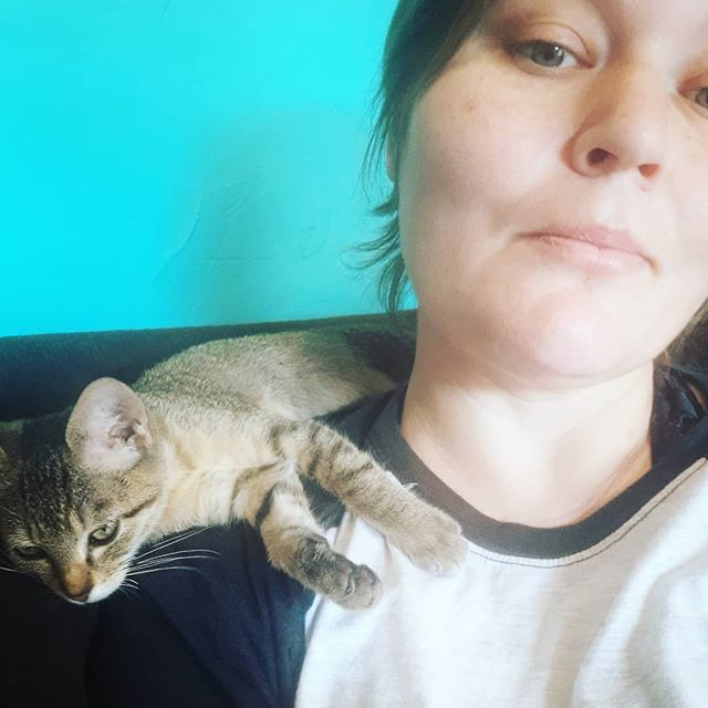 My phone is broken pretty bad right now, so ive been hesitant to post artwork. So heres a potato quality picture of Emma Goldman the resident furrbaby at @monkeywrenchatx she loves to cuddle and meet new folks. 💖🥰💖🥰💖🥰💖🥰💖🐱🐾💖💖💖💖 . . . . #atxlife #atxstyle #anarchokitty #atxcat #bookstorelove #independantbookstore #purrbaby #cuddleswithbae
