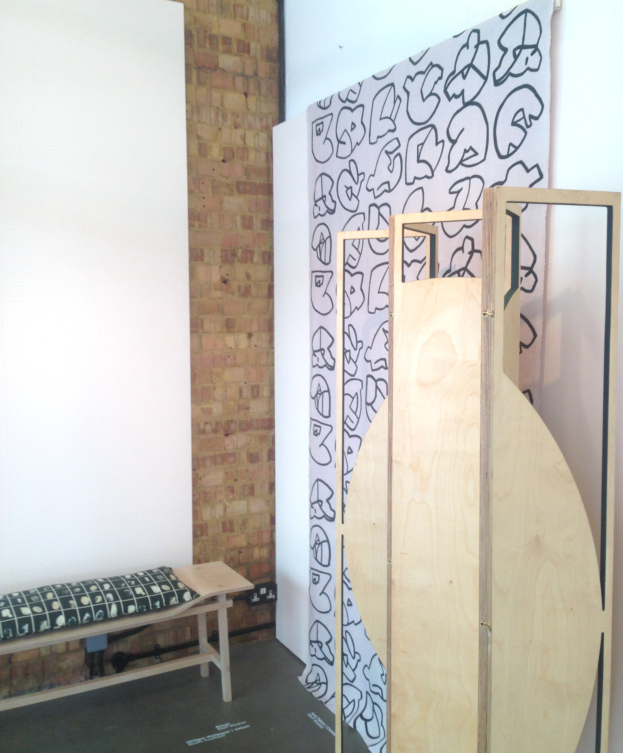 Screen by Custhom, Textiles & bench by Stoff Studio