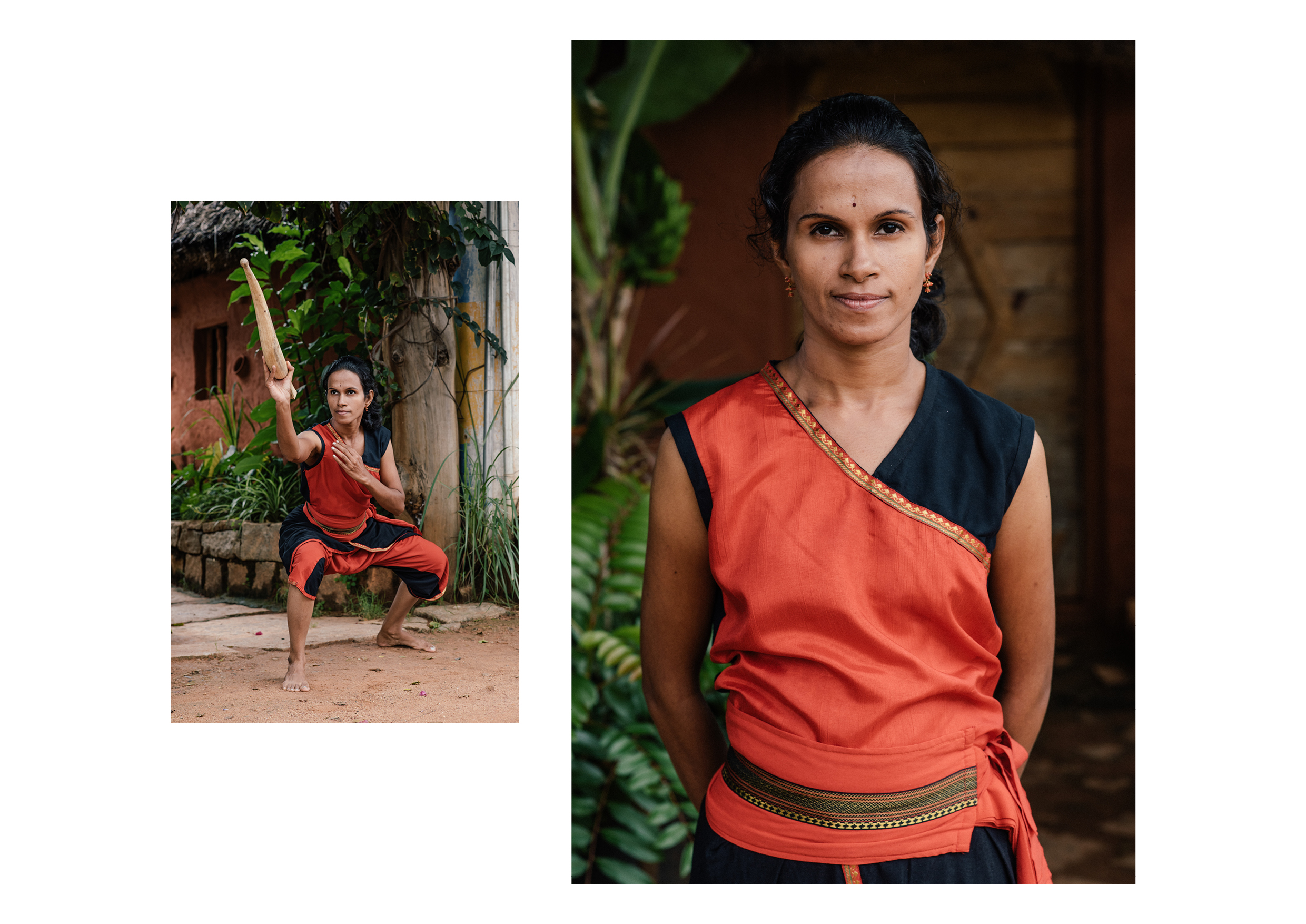 Ranjan's wife, Shiny, is also a student of Kalari, and takes part in performances.