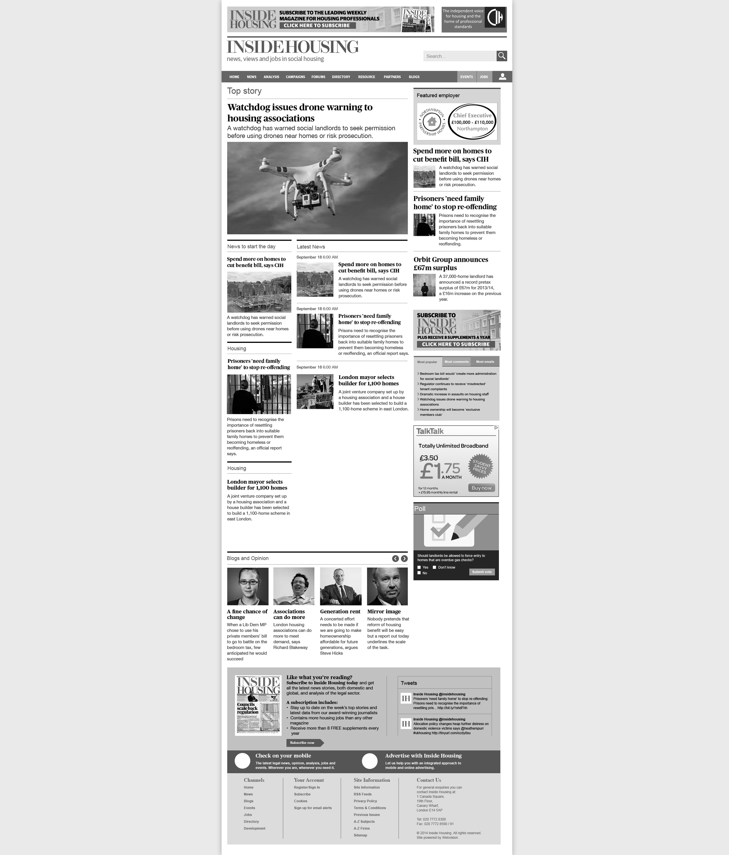 Black and white wireframe of the site to show stakeholders